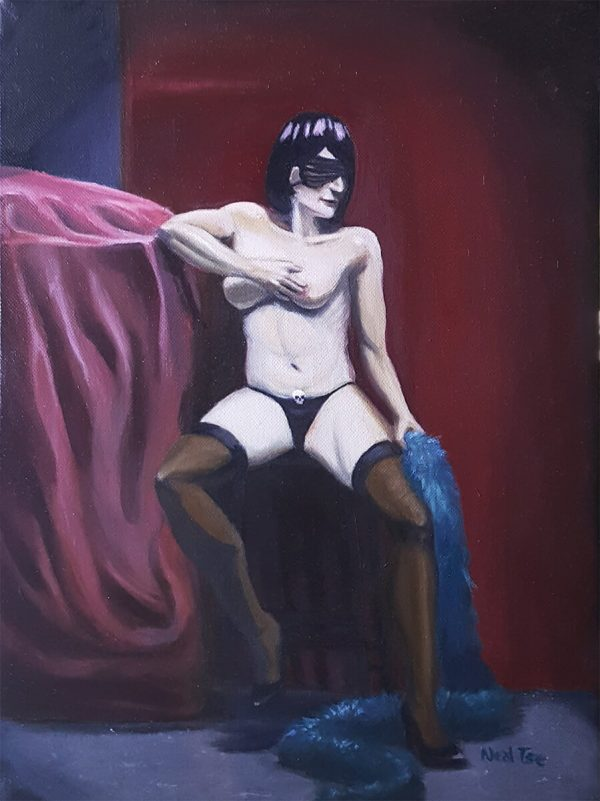 Oil figure painting of Naughty Natanya Chicago burlesque performer